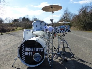 "Hometown Hi-fi drumset in place for the ""Long Gone"" video"
